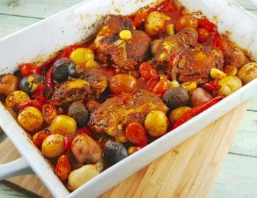 roasted middle eastern chicken with potatoes