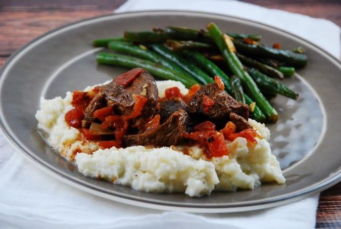 Slow Cooker Garlic Beef and Cauliflower Mash