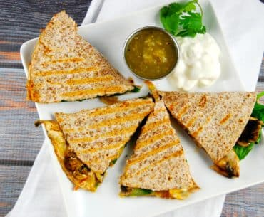 spinach and mushroom quesadilla