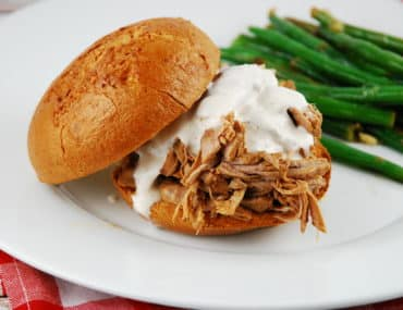 pulled pork with white BBQ sauce