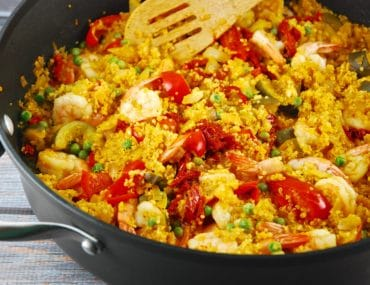 shrimp and quinoa paella