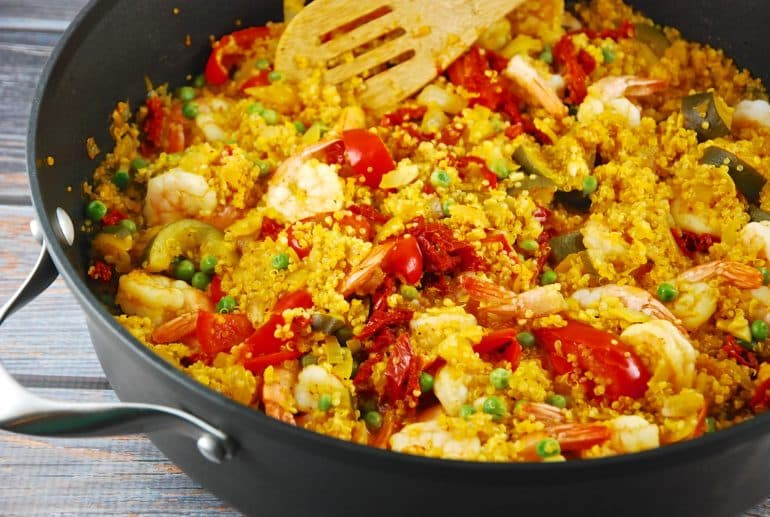 shrimp and quinoa paella