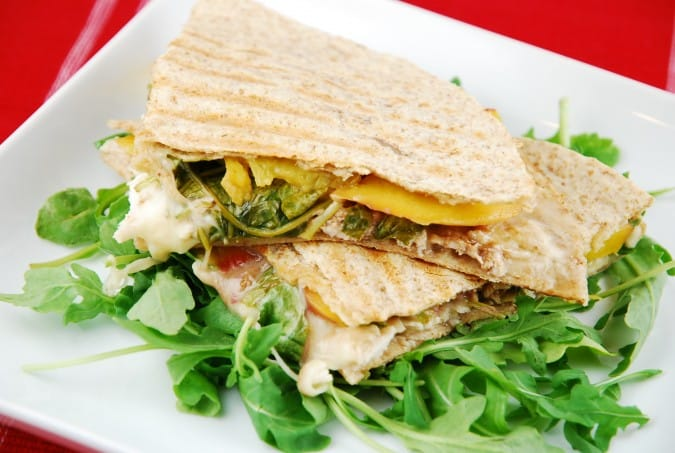 Peach, Chicken and Gorgonzola Quesadillas