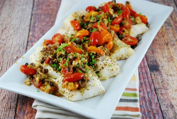 Baked Cod with Olive and Tomato Tapenade