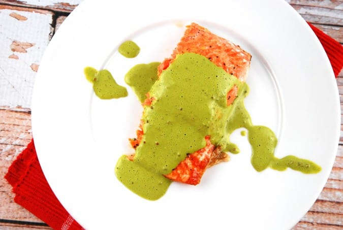 roasted salmon with basil mint sauce