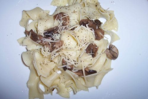 Egg noodles with mushrooms.