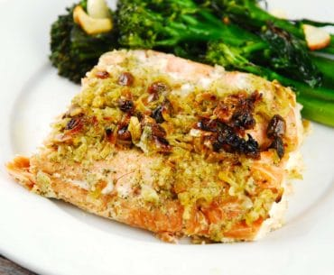 onion and pistachio crusted salmon