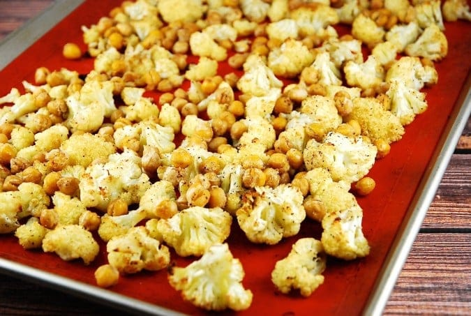 Roasted Cumin Spiced Cauliflower and Garbanzo Beans