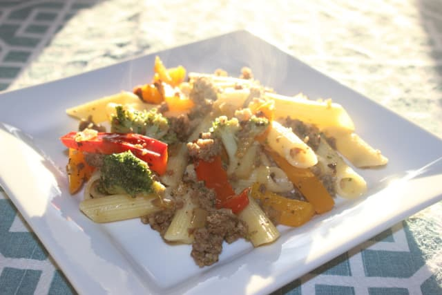 Penne with Sausage Veggies 1