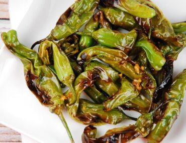 roasted sesame garlic shishito peppers