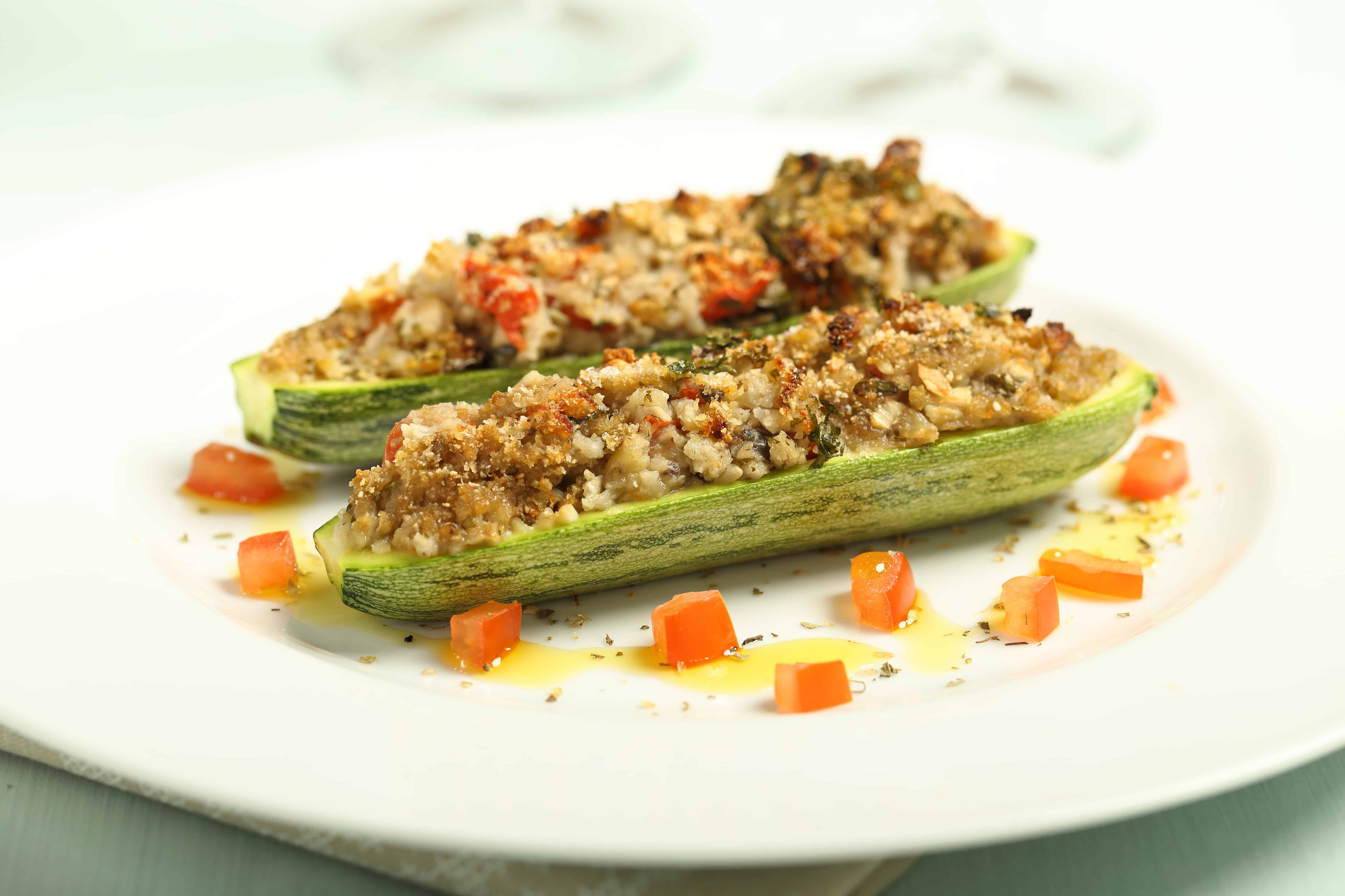 Stuffed Zucchini Boats - 3 Points + - LaaLoosh