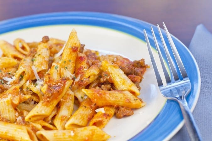 Penne with Roasted Red Pepper Ragu