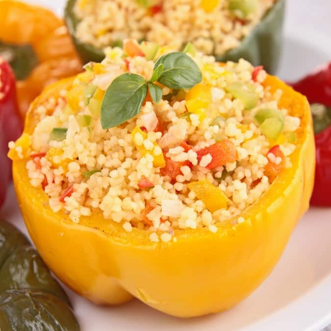 couscous stuffed bell pepper