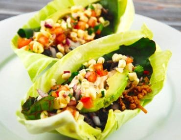 chicken tacos with lettuce shell