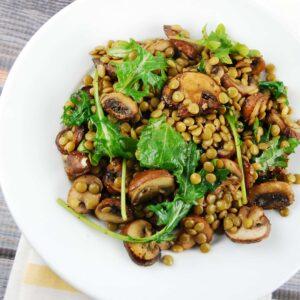 warm mushroom lentil salad