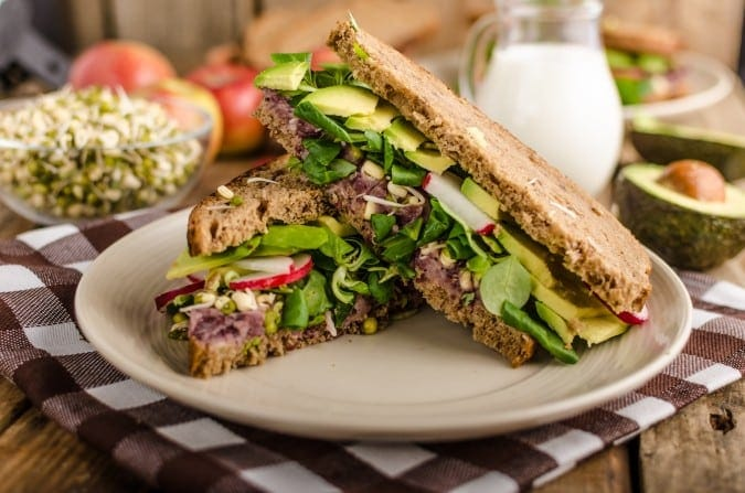 Sandwich with Beet Hummus