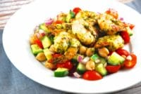 spiced shrimp over garbanzo bean salad