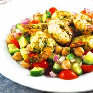 spiced shrimp over garbanzo bean salad