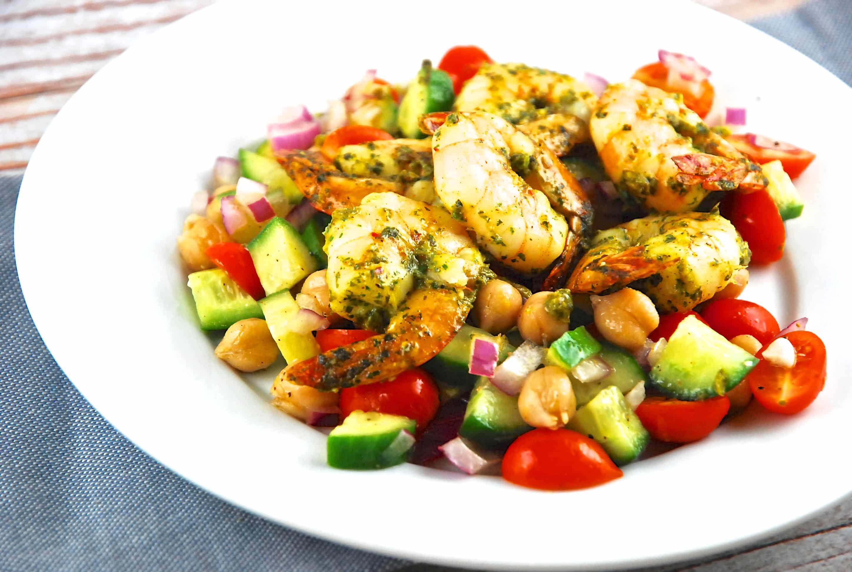 Moroccan Spiced Shrimp Over Garbanzo Bean Salad
