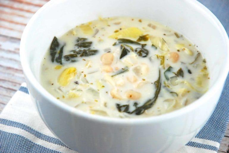 spinach artichoke white bean soup