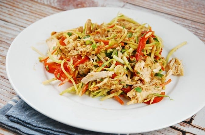 Chicken and Broccoli Slaw with Almond Butter Dressing