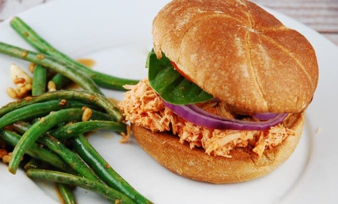 Crockpot Buffalo Chicken Sandwich