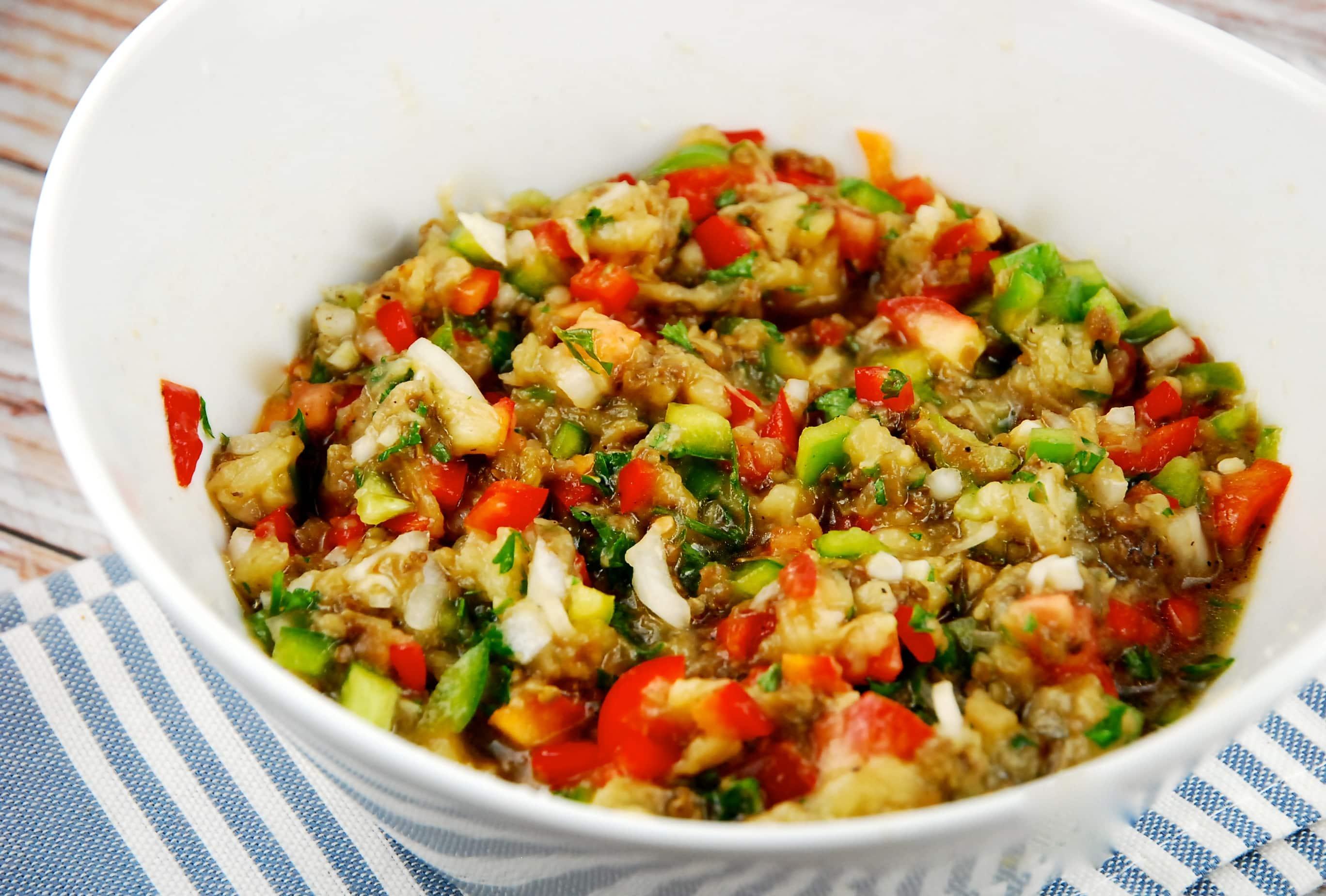 Roasted Eggplant Salad Recipe - 1 Smart Point - LaaLoosh