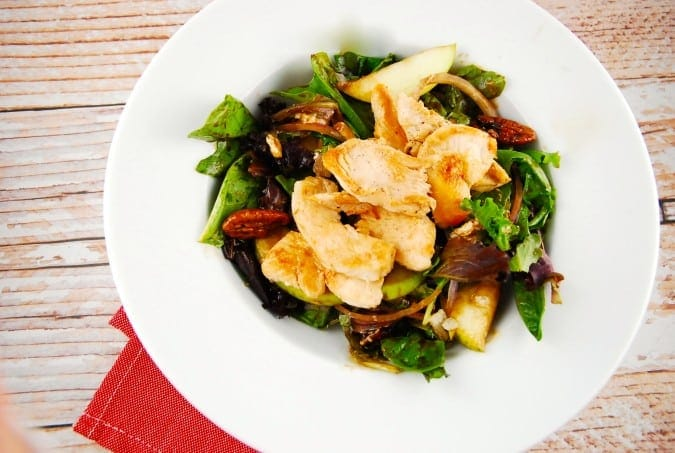 Grilled Chicken, Pear, and Candied Pecan Salad - 12 smart Points