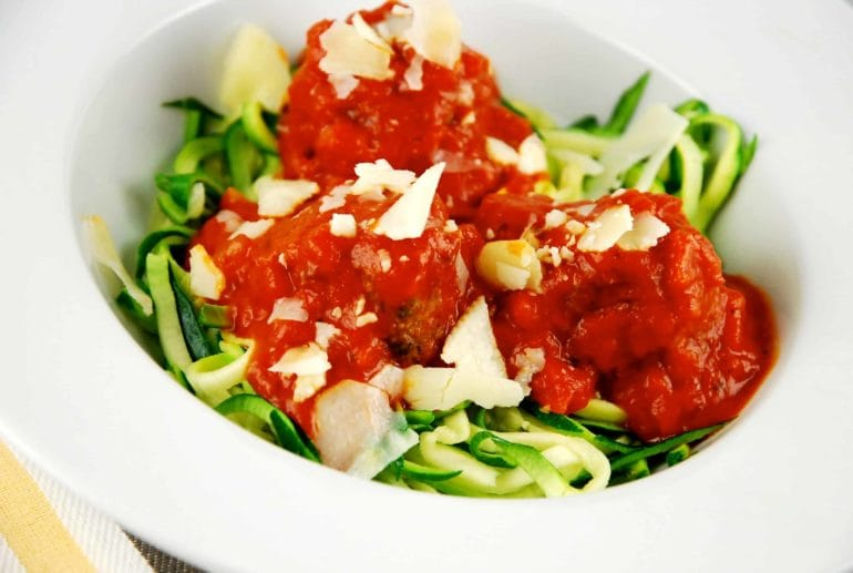 chicken meatballs and zoodles