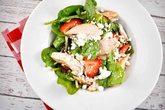Grilled Chicken Spinach and Strawberry Salad
