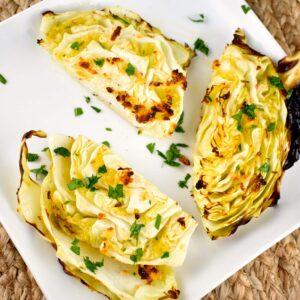 garlic roasted cabbage wedges