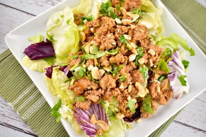 asian chicken lettuce wrap bowl