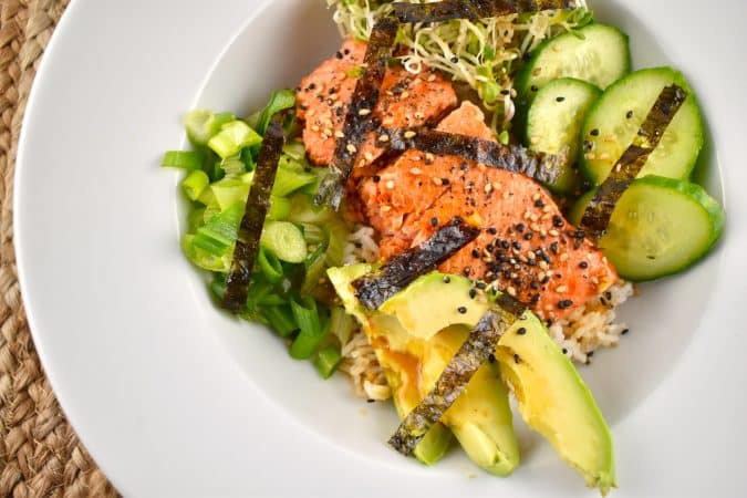 asian salmon bowl
