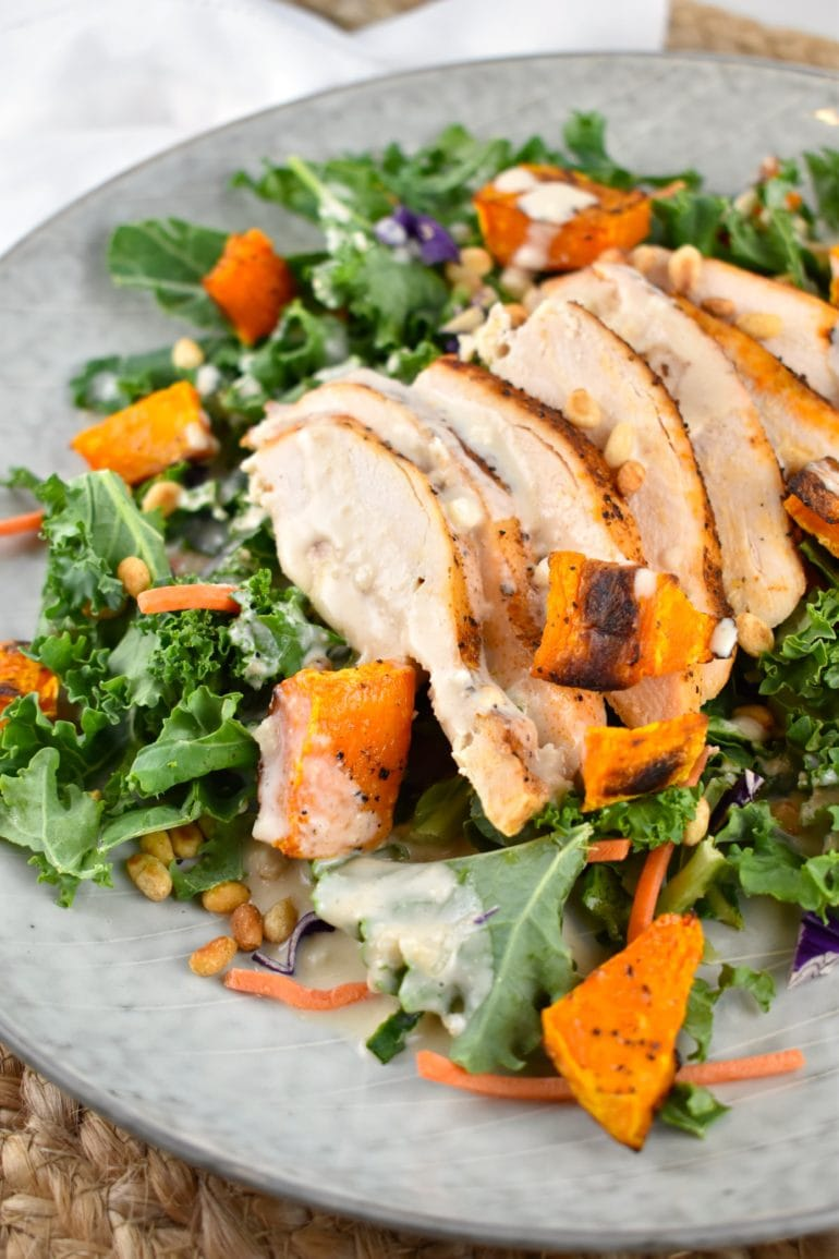 Grilled Chicken and Roasted Butternut Squash Salad with Tahini Dressing