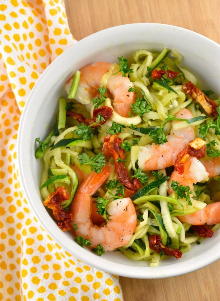 Garlic Butter Shrimp and Zoodles without the Parmesan