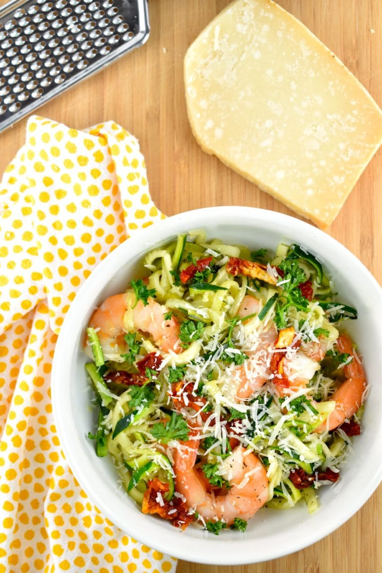 Garlic Butter Shrimp and Zoodles without with the Parmesan