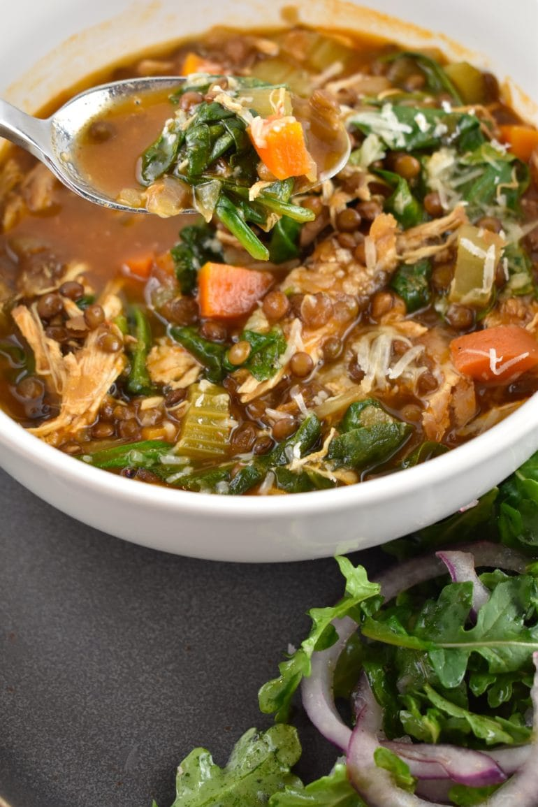Lentil, Chicken, and Spinach Soup